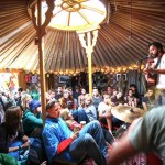 Evan Jack playing at our Music4Children yurt in the Green Futures field