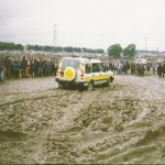Meat wagon stuck in the mud in the main arena.