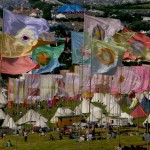 flags and tipis made an abstract composition
