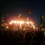 Late night crowd at Pyramid Stage; Neil or Bruce?