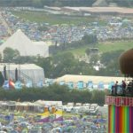 Three icons of Glastonbury. Ribbon Tower, Other Stage and Pyramid Stage