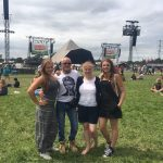 Family by the pyramid stage
